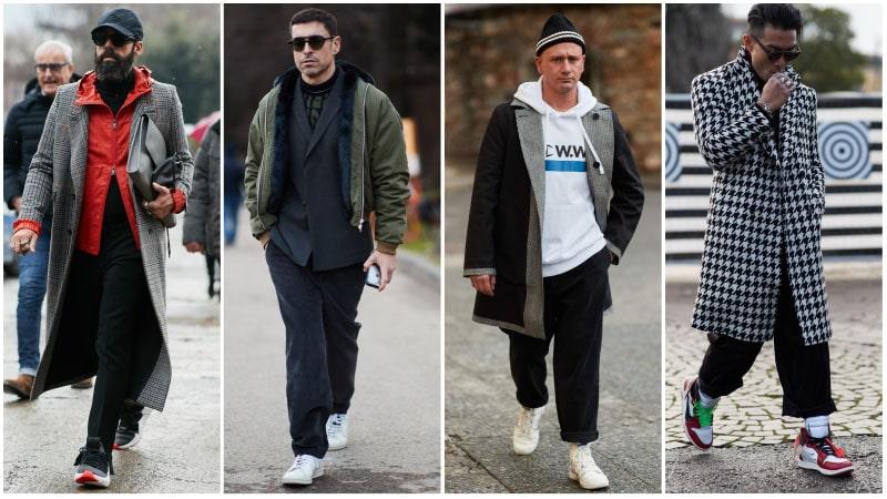 Зимние кроссовки в мужских повседневных образах.