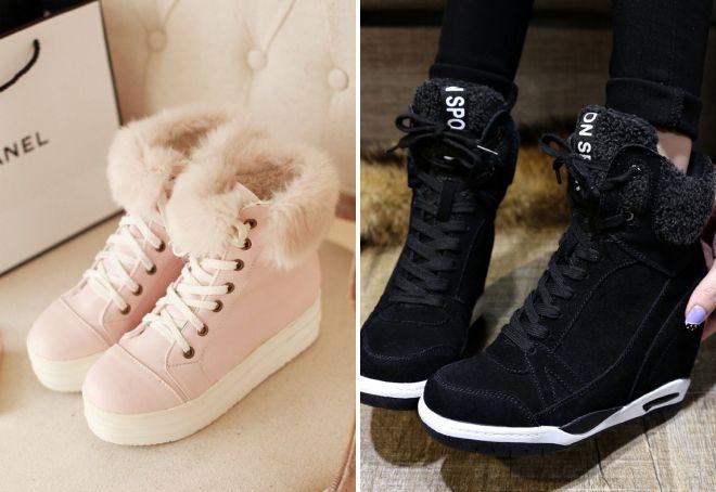 Однотонные кроссовки с мехом смотрятся очень стильно и элегантно.