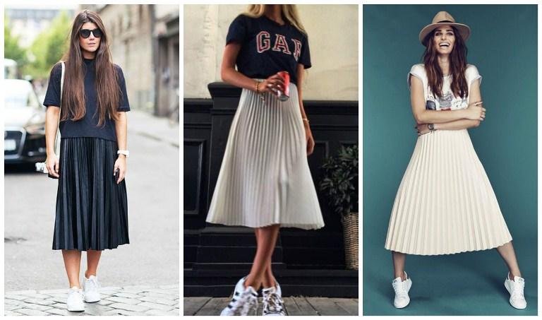 Юбка-плиссе и белые кроссовки - это идеальная пара для женственных луков.