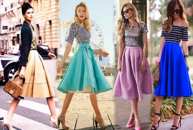 Юбка-солнце и обувь на каблуке - это синоним женственности.