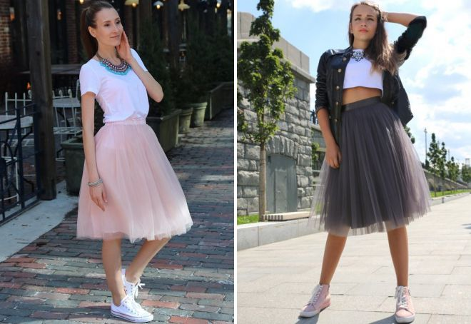 Фатиновая юбка и кроссовки - дуэт для самых нежных образов.