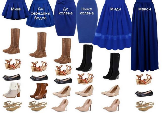 Основа хорошего образа - грамотное сочетание длины юбки и типа обуви.