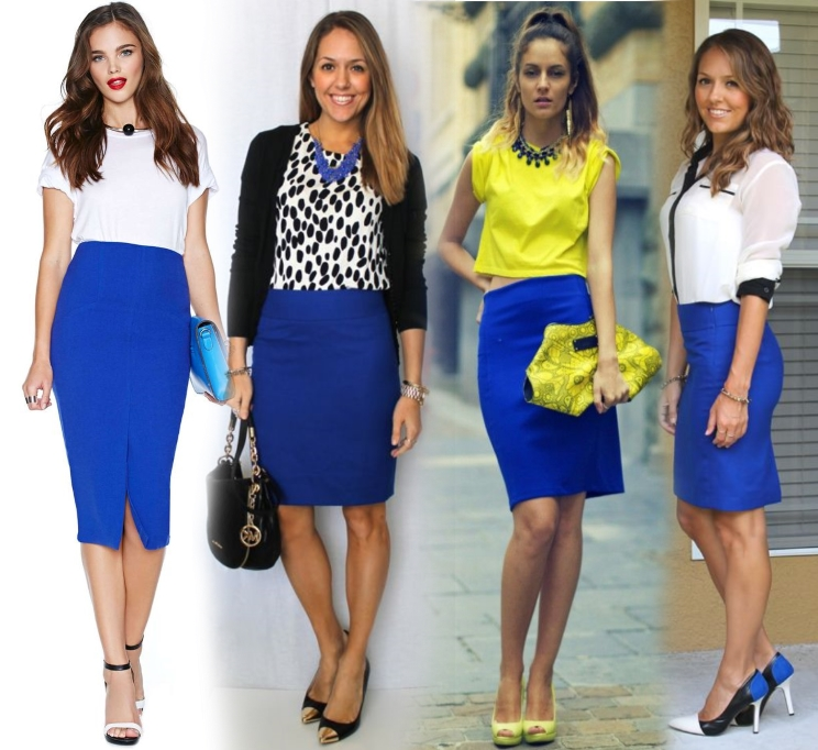 Синяя юбка-карандаш с обувью на каблуке выглядит эффектно и нетривиально.