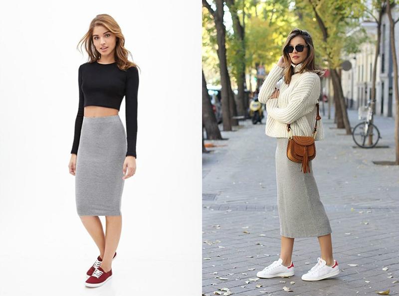 Трикотажная юбка-карандаш в паре с кедами смотрится идеально.