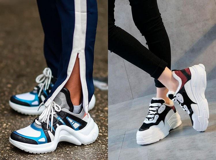 Яркие массивные кроссовки и спортивные штаны или же обтягивающие джинсы - идеальное сочетание.