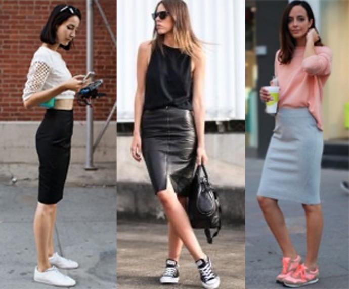 Белый топ, черная юбка-миди и белые кроссовки - отличный вариант для прогулки. Или же кроссовки с розовыми вставками в сочетании с розовой кофтой.