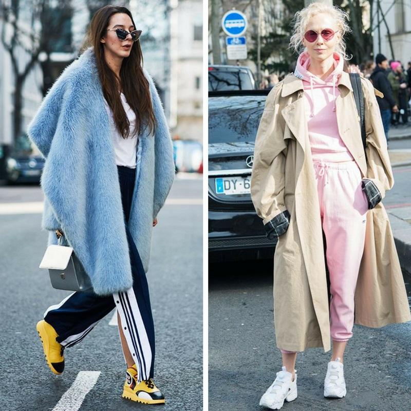 Шуба или тренч с кроссовками - еще один тренд этого года. Розовый спортивный костюм, бежевый тренч и белые хайтопы. Более яркий вариант - комбинация голубой шубы и желтых кроссовок, не забывая при этом о штанах с лампасами. Оба образа дополняют очки - узкие вытянутые и круглые.