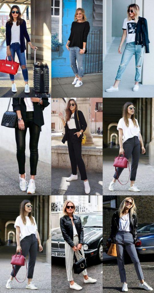 Белые кроссовки - универсальны. Отлично сочетаются с штанами разного фасона, джинсами и сумочками.