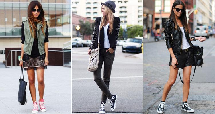 Высокие кеды являются универсальными - можно надевать как с юбкой, так и с джинсами, шортами. К примеру, черная кожаная куртка и шорты в сочетании с черными кроссовками.