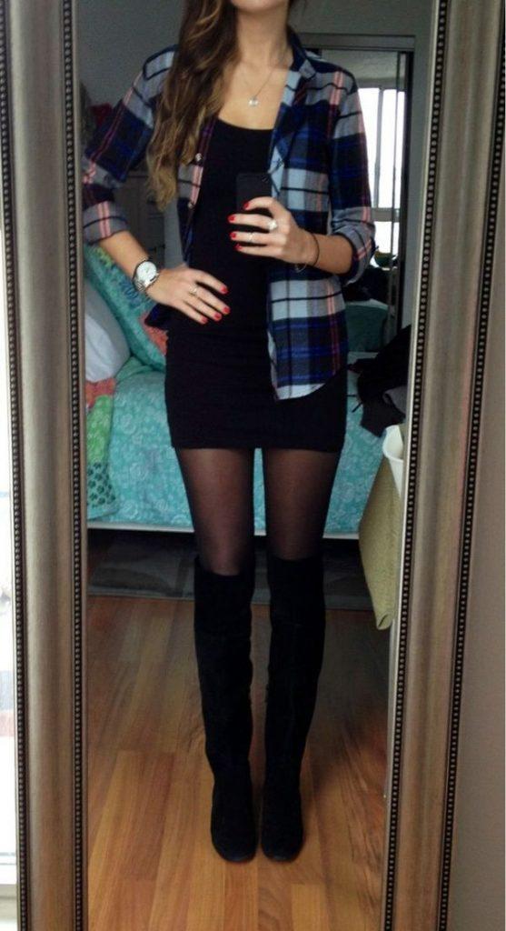 Под короткую юбку карандаш лучше надеть темные колготы