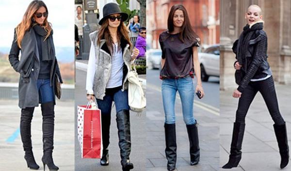 Лучшие повседневные аутфиты – длинные сапоги с джинсами-скинни, узкими брюками