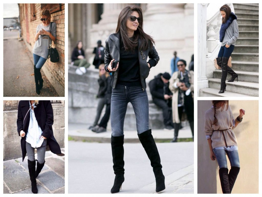 Хорошо сочетаются с высокими сапогами обычные джинсы, джеггинсы