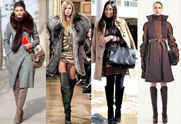Прекрасный тандем с высокими сапогами создают демисезонные пальто и верхняя одежда с пушистым мехом