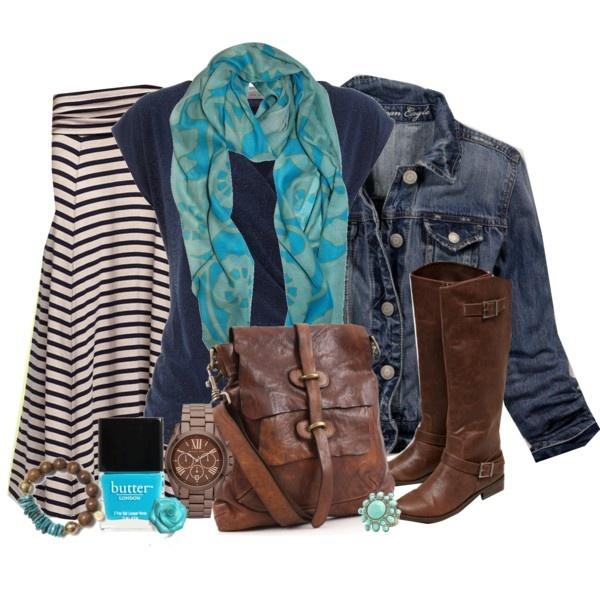 Повседневный образ с юбкой миди, джинсовой курткой и сапогами до колена