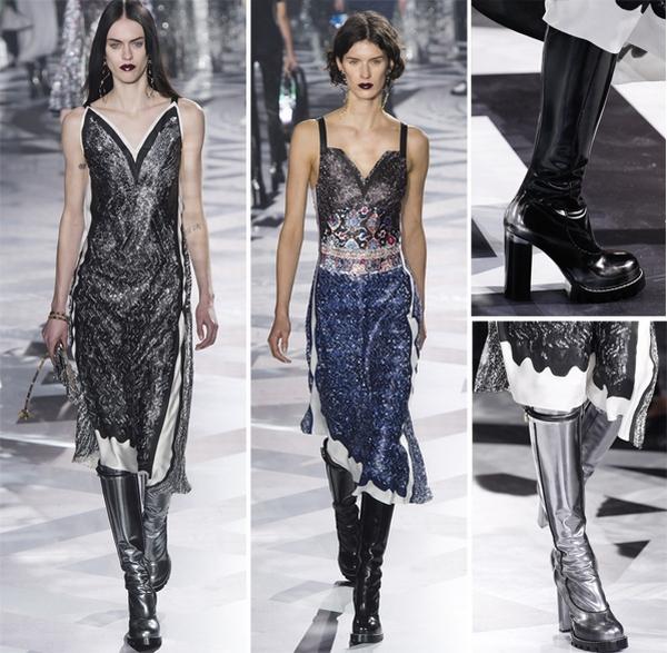 Знаменитые модельеры предлагают вечерние луки с высокими сапогами и платьями в бельевом стиле