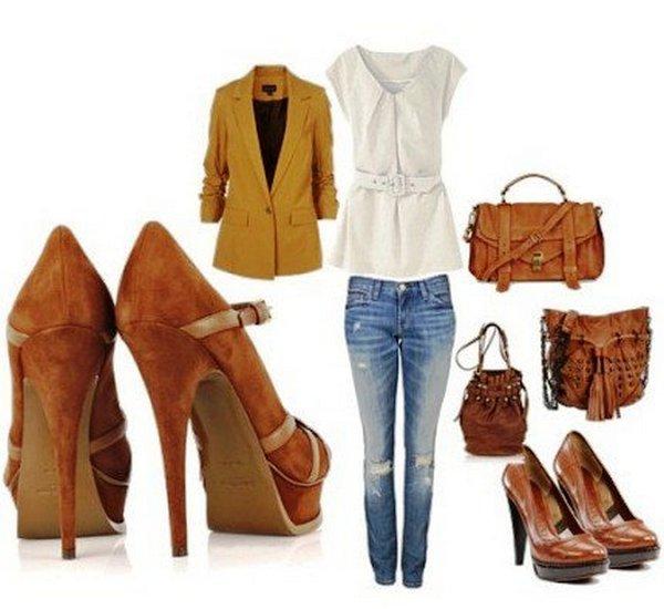 Коричневые туфли из замши – органичны с одеждой белого, желтого цвета