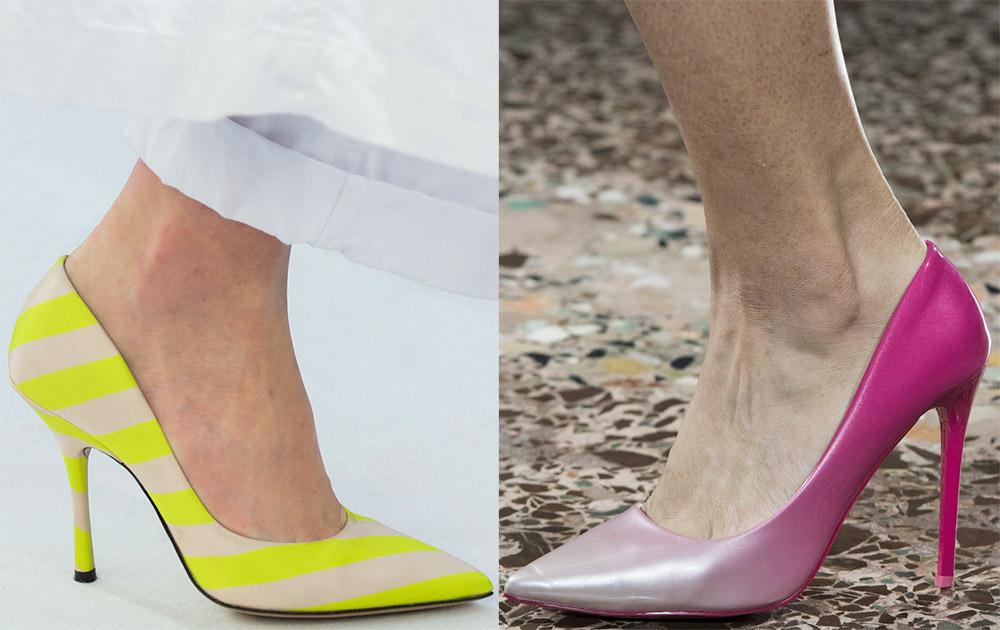 Яркие, цветные лодочки - модное решение для смелых женщин.
