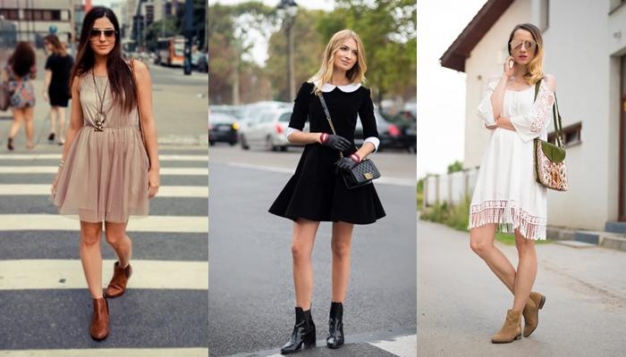 Привлекательные летние луки с платьями и ботинками челси классических оттенков.