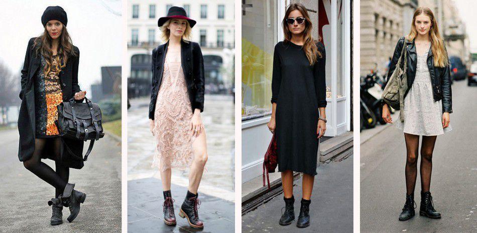 Легкое платье и ботинки на шнуровке - эффектное сочетание, популярное в сезоне.