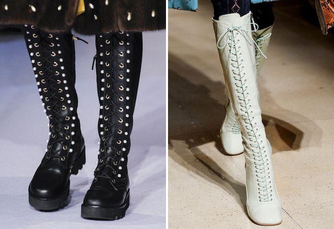 Высокие ботинки на шнуровке смотрятся необычно и стильно.