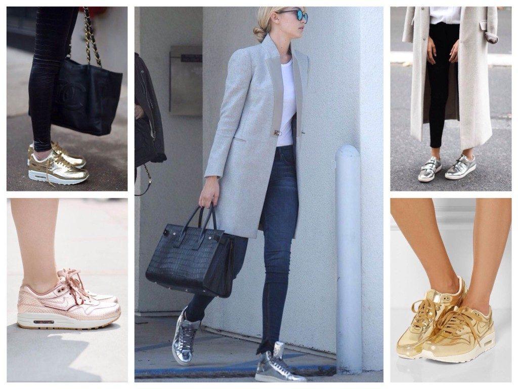 Блеск металлизированных кроссовок сделает лук ярче, эпатажнее и изысканнее.
