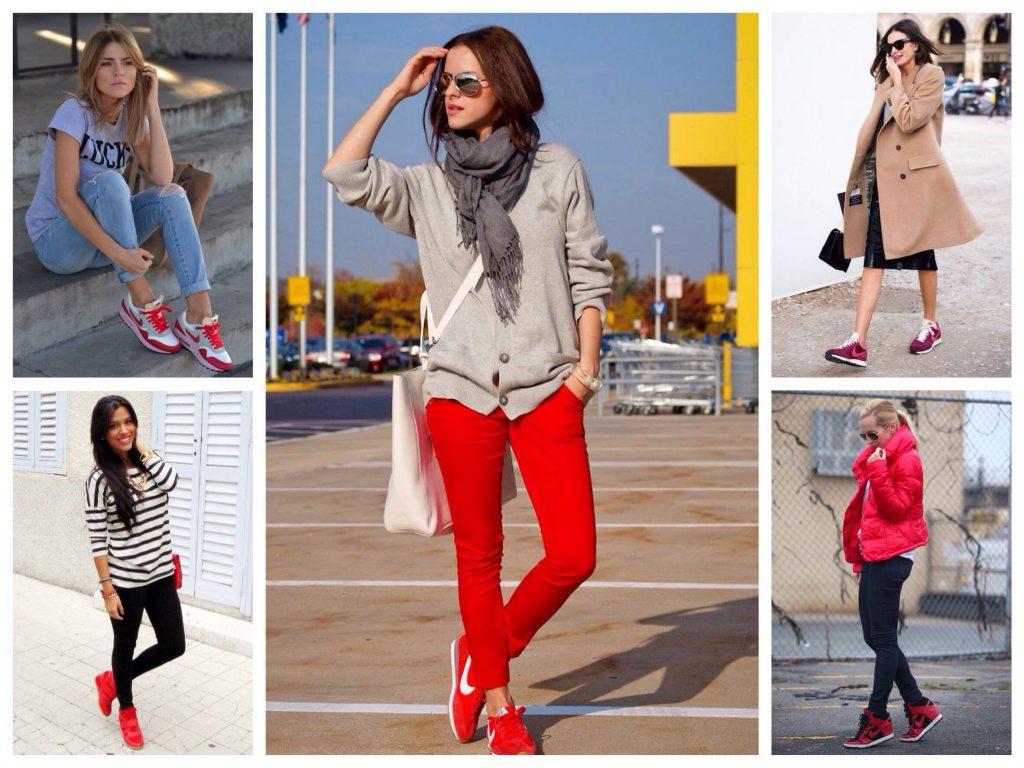 Красные кроссовки отлично смотрятся с зауженными брюками базовых оттенков, а также с юбками.