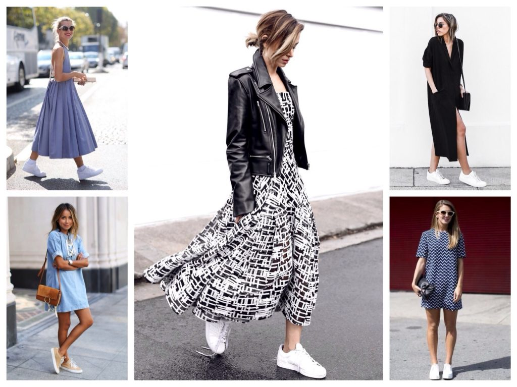 Белые кроссовки отлично сочетаются с платьями разной длины: мини, миди и макси.
