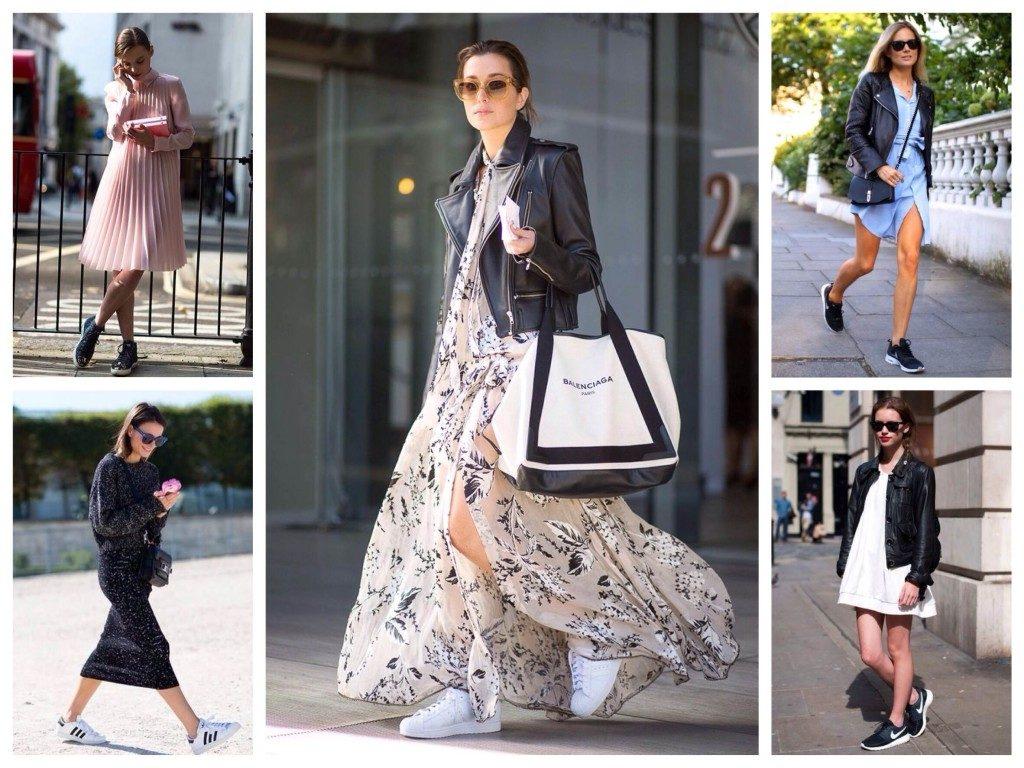 Кроссовки отлично дополняют, как легкие романтичные модели, так и платья-футляры.