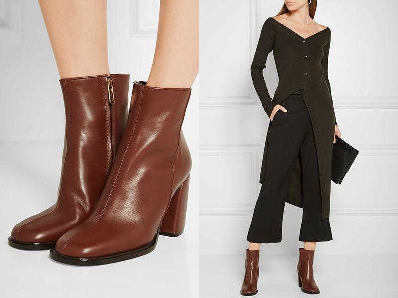 Черно-зеленый лук и коричневые ботинки - шикарное сочетание.