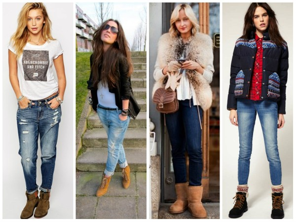Замшевые ботинки различных оттенков коричневого отлично сочетаются с джинсами.
