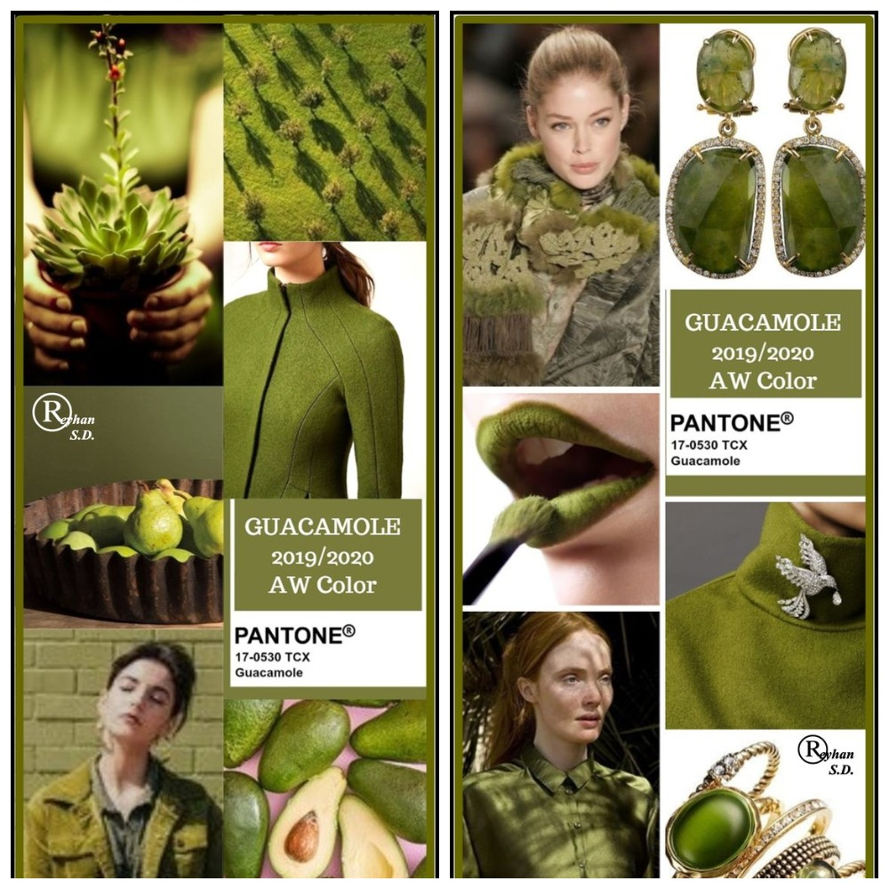 Оттенок зелёного, классифицированный Институтом цвета Pantone как Guacamole, находится где-то между оливковым и хаки