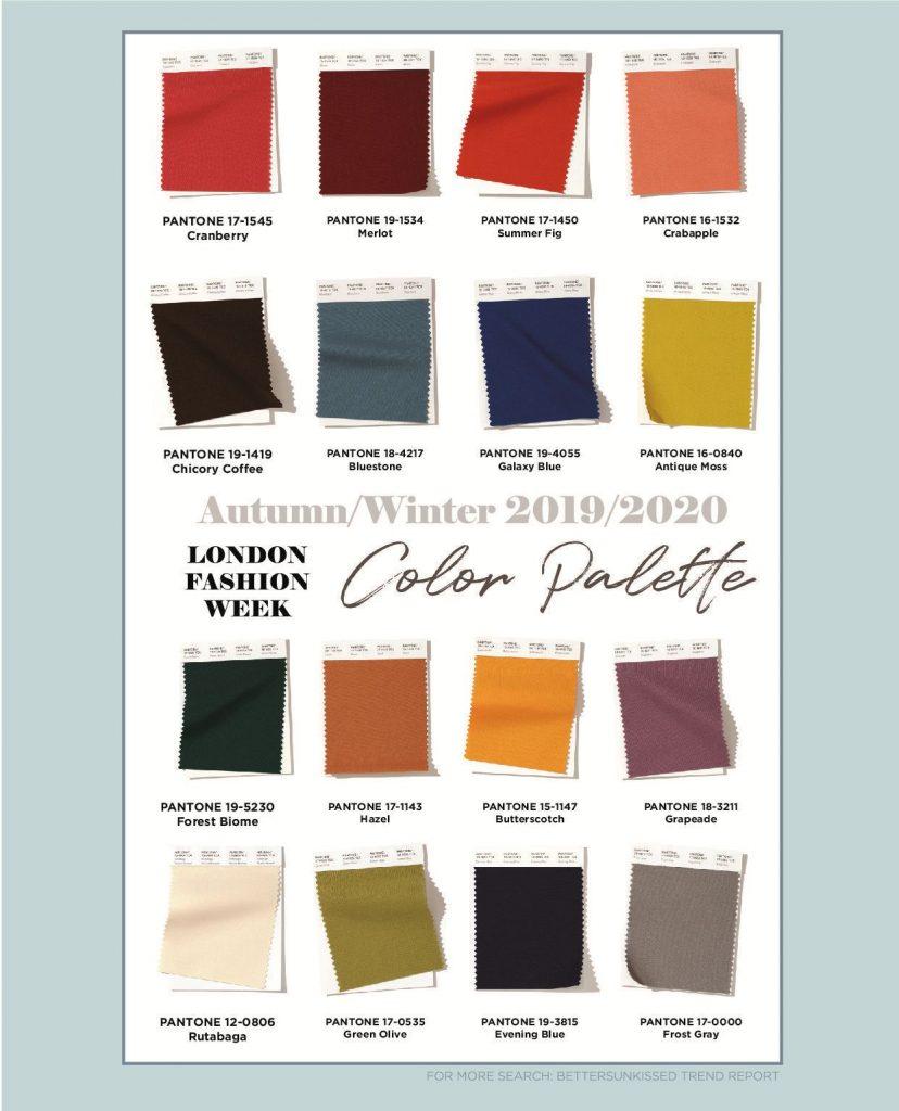 Модная палитра Лондон осень-зима 2019-2020
