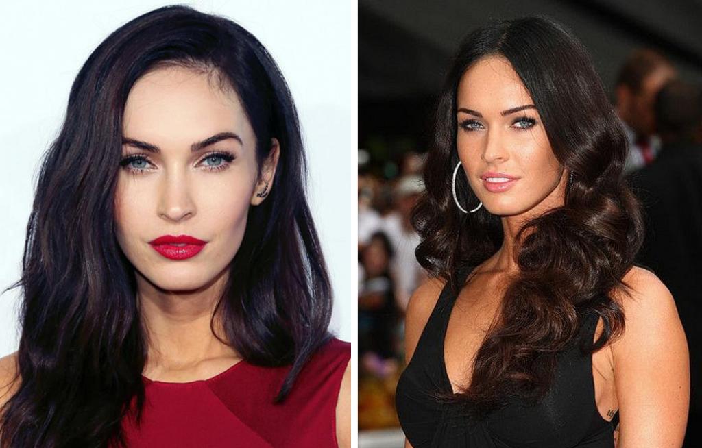 Слева самое яркое во внешности Меган — контраст между кожей и волосами. Справа контраст убирается, и на первый план выходят яркие глаза