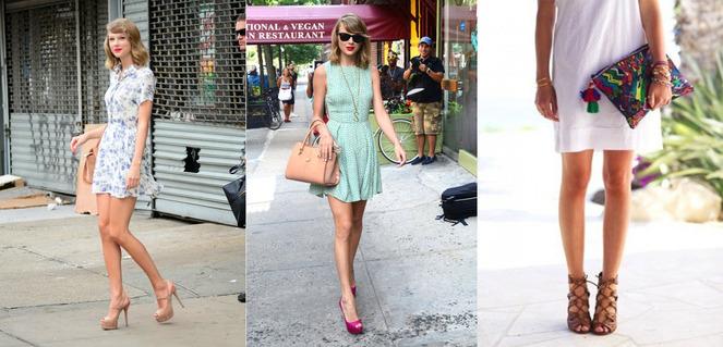 Босоножки на каблуке прекрасно дополняют легкие, короткие платья.