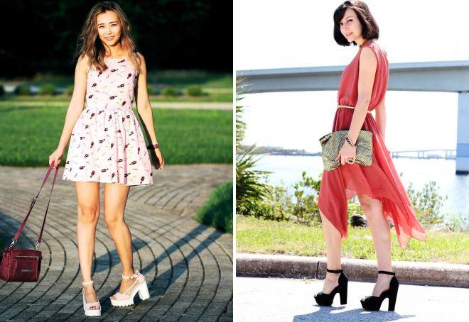Босоножки на толстом каблуке подчеркивают женственность образов с платьями.