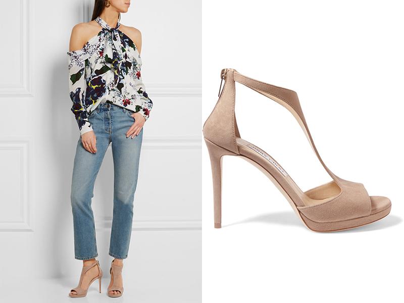 Открытый носок, открытые плечи и джинсы - идеальное сочетание.