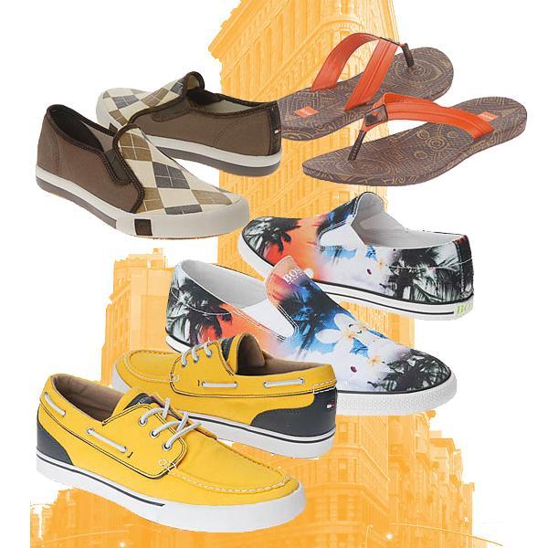 Ассортимент летней мужской обуви впечатляет разнообразием оттенков и материалов.