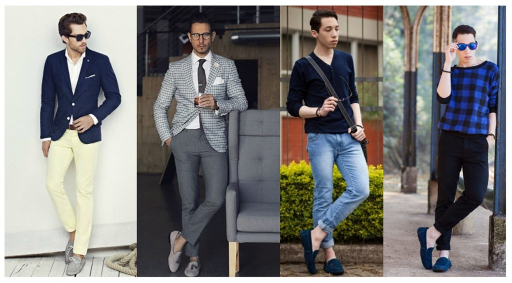 Серые и синие мокасины в сочетании с укороченными брюками смотрятся идеально.