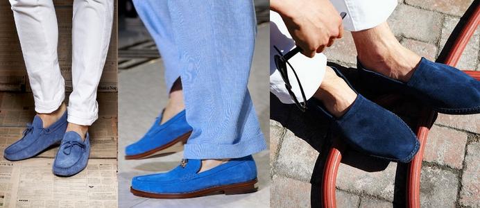 Синие мокасины - модный тренд этого лета.
