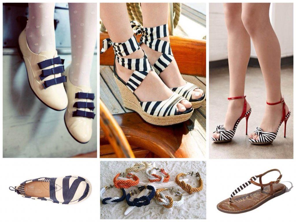 Морские мотивы актуальны в летней обуви.