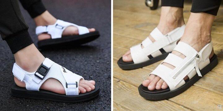 Модные в этом сезоне белые сандали.