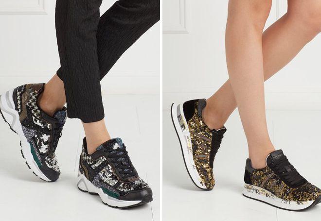 В моде кроссовки с блестками и пайетками.