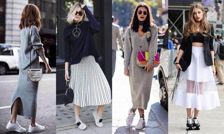 Классические черно-белые кроссовки прекрасно сочетаются с макси.