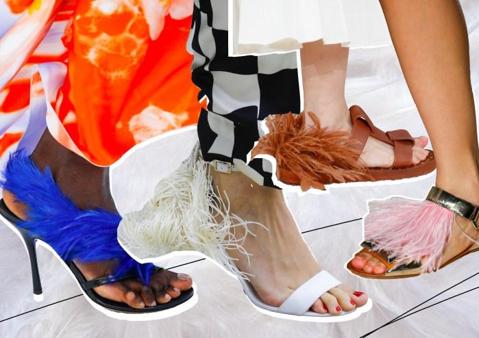 Перья - яркий акцент модной обуви.