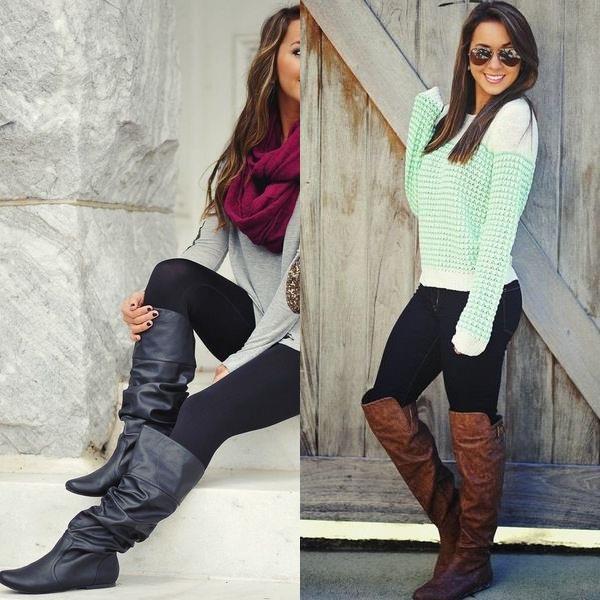 Разнообразие выбора обуви без каблука позволяет поклонницам модных сапог экспериментировать с формой, цветом, дизайном, фактурой и цветом.