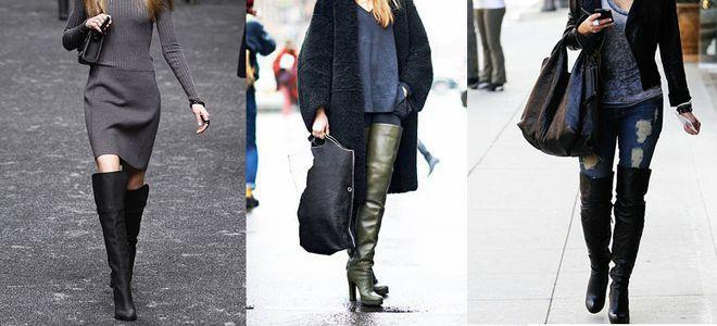 Гармоничную пару сапогам на толстом каблуке составят юбки, платья и джинсы