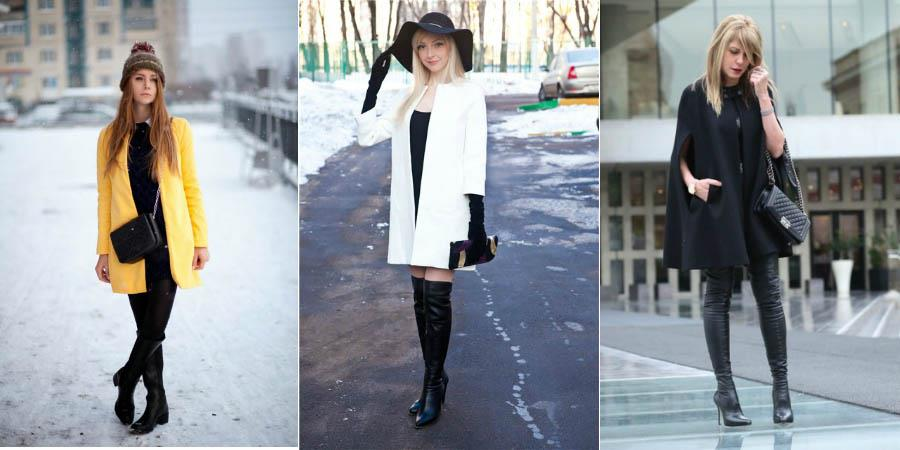 Ботфорты можно сочетать с верхней одеждой средней длины