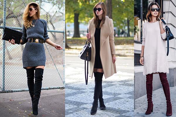 Платье лучше выбрать лаконичное, свободного кроя, без глубокого декольте или вязаное платье - свитер