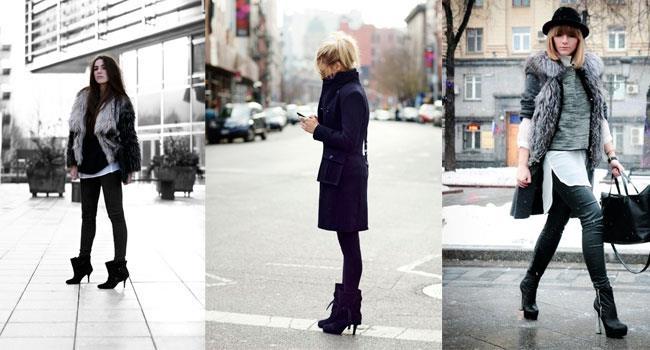 Модель на высоком каблуке черного или темно синего цвета будут гармоничны практически с любым стилем. Если подобрать непрозрачные колготы или джинсы в цвет, то это визуально удлинить ножки