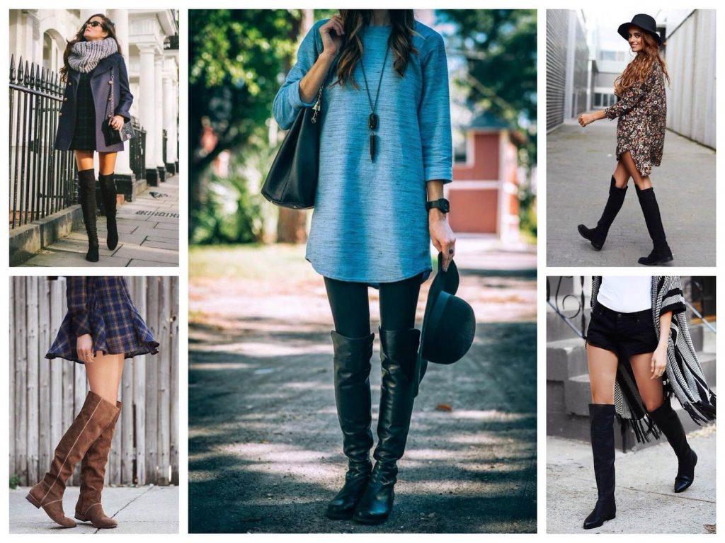 Платью свободного края и кардигану; юбке; шортам и удлиненному строгому пальто; леггинсам и тунике; джинсам и рубашке, свитеру ботфорты на плоском ходу добавят изысканности и грации
